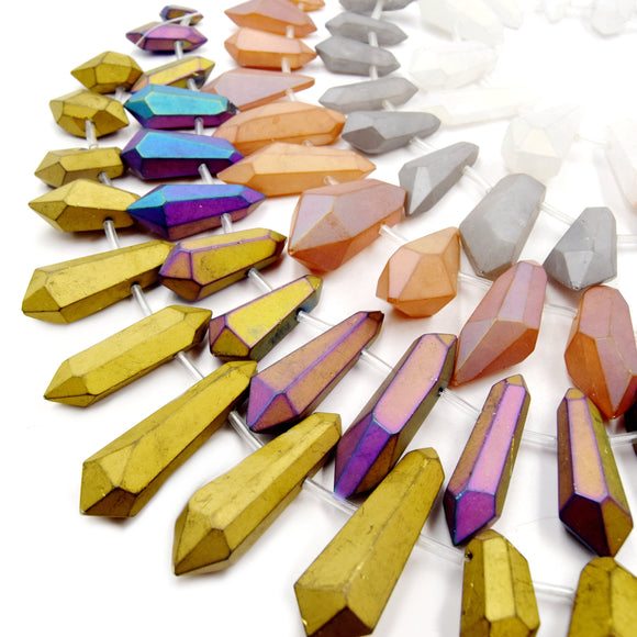 Titanium Crystal Quartz Point Beads | Matte Double Point Crystal Bead - Gold Silver White Champagne Rainbow Available