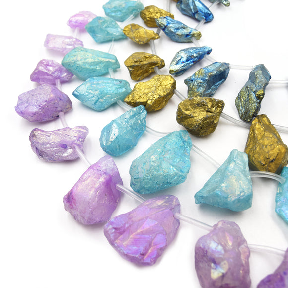 Aura Crystal Quartz Beads | Matte Teardrop Nugget Point Crystal Bead - Gold Aqua Lavender Blue Available