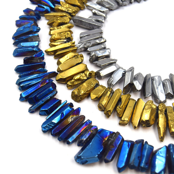 Titanium Crystal Quartz Point Beads | Smooth Stick Crystal Bead - Gold Silver Blue Available