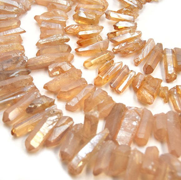Champagne Crystal Quartz Point Beads | Champagne Stick Crystal Bead - Smooth and Matte Finish Available