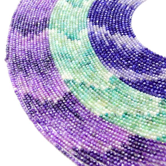 Mystic Shaded Quartz Beads | AB Coated Dyed Quartz Micro Faceted Rondelle Beads - Green Purple Blue Available - Indian Cut Gemstone