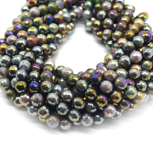 Mystic Coated Indian Agate Beads - Faceted Round AB Coated Agate Gemstone Beads - 8mm & 10mm Available