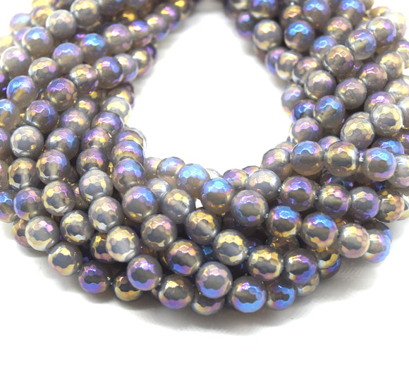 Mystic Coated Gray Agate Beads - Faceted Round AB Coated Agate Gemstone Beads - 8mm & 10mm Available