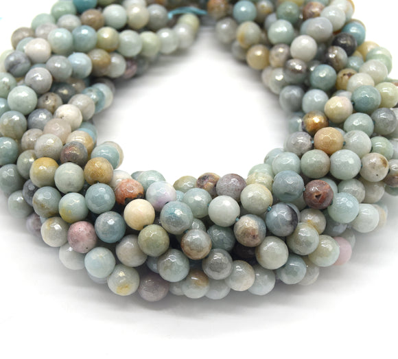 Mystic Coated Amazonite Beads - Faceted Round AB Coated Gemstone Beads - 8mm & 10mm Available