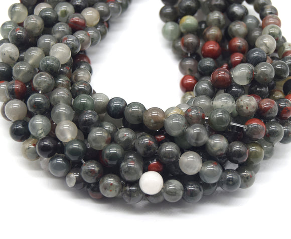 Blood Agate Beads - Smooth Round Natural Agate Gemstone Beads - 8mm 10mm 12mm Available