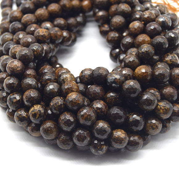 Bronzite Beads - Faceted Round Natural Gemstone Beads - 10mm 12mm Available