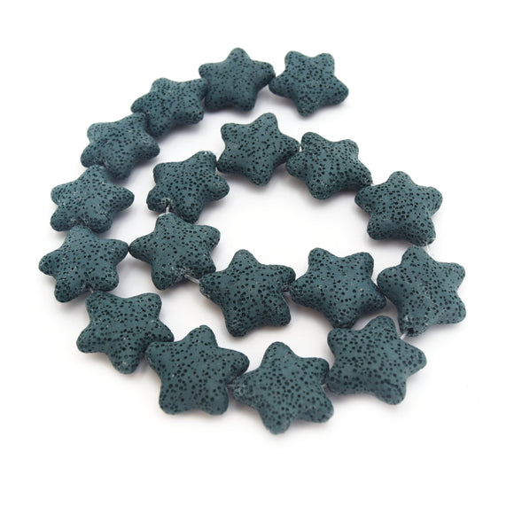 Star Lava Beads | Natural Dark Teal Lava Rock Beads - 22mm 27mm 42mm Available