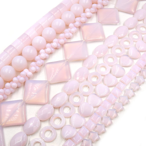 Pink Opalite Beads | Heart Diamond Ring Bow Star Oval Round Square Cylinder Shaped Opalite Beads