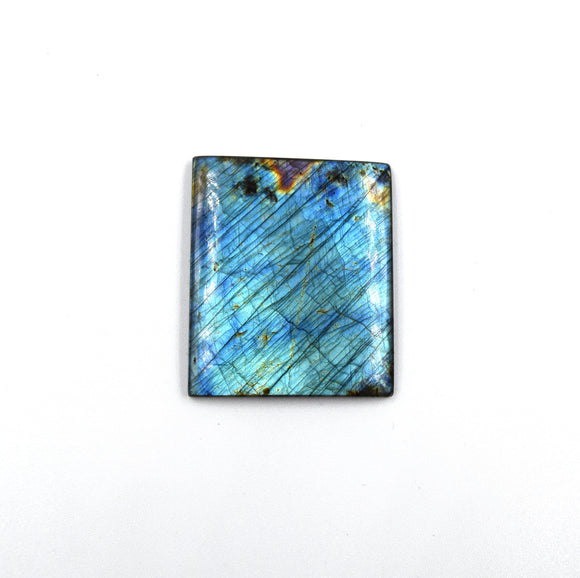 AAA Rectangle Shaped Iridescent Blue/Green Labradorite Flat Back Cabochon - Measuring 39mm x 41mm, 5.5mm Dome Height - Natural Gemstone Cab