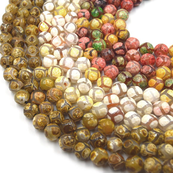 Tibetan Agate Beads | Dzi Beads | Dyed Faceted Honeycomb Round Gemstone Beads - 10mm Available - 3 Colors