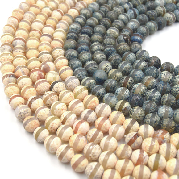 Tibetan Agate Beads | Dzi Beads | Dyed Faceted Striped  Round Gemstone Beads -10mm Available - 2 Colors