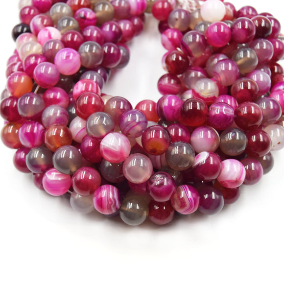 Banded Agate Beads | Dyed Mixed Magenta Smooth Round Gemstone Beads - 12mm Available