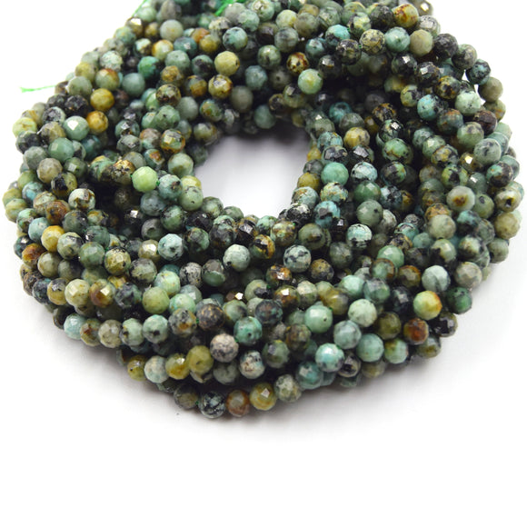 4mm Faceted Finish Natural African Turquoise Jasper Round/Ball Shaped Beads with 1mm Holes - Sold by 15