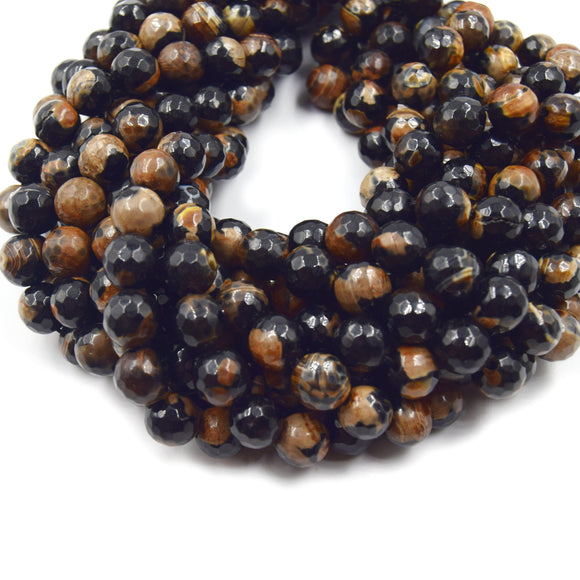 Dyed Agate Beads | 10mm Faceted Brown Black Round Gemstone Beads