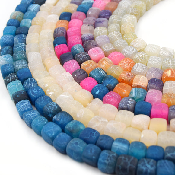 Cube Frosted Agate Beads | Dyed Matte Crackle Cube Gemstone Beads - 10mm Available - 5 Colors