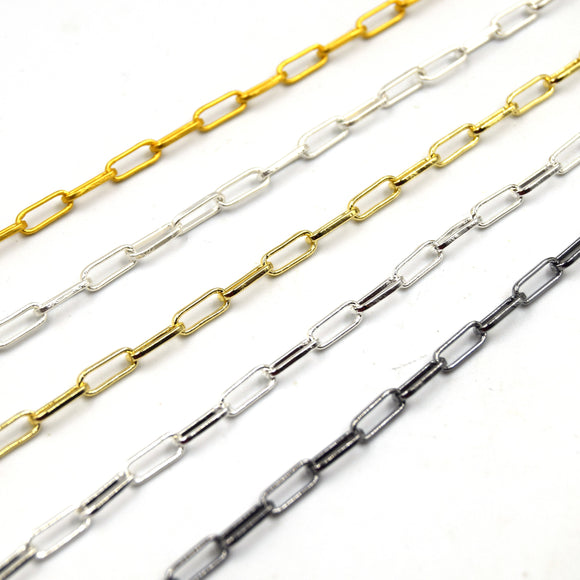 Paper Clip Chain | 4mm x 10mm Paper Clip Link Chain | Gold, Gunmetal, Silver, Matte Gold, Matte Silver Available | Sold by the foot