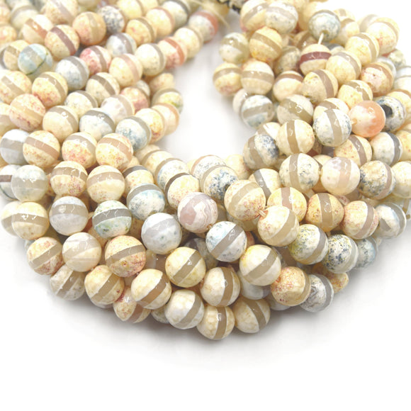 Tibetan Agate Beads | Dzi Beads | Dyed Earthy Pastel Mix Faceted Striped  Round Gemstone Beads -12mm Available