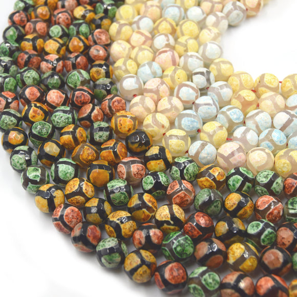Tibetan Agate Beads | Dzi Beads | Dyed Faceted Honeycomb Round Gemstone Beads - 12mm Available - 2 Colors