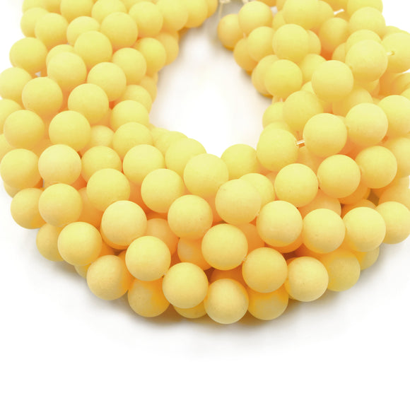 12mm Matte Pale Butterscotch Yellow Jade Round/Ball Shaped Beads - 15