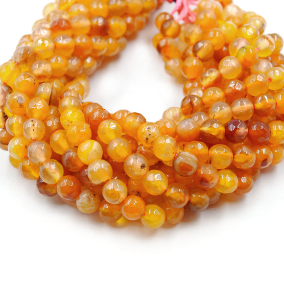 Carnelian Beads | Faceted Round Gemstone Beads - 4mm 6mm 8mm 10mm Available
