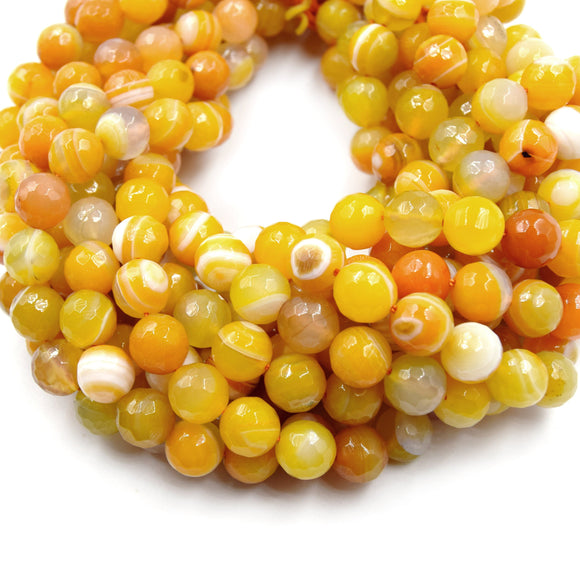 Banded Agate Beads | Dyed Orange Yellow Faceted Round Gemstone Beads - 10mm Available