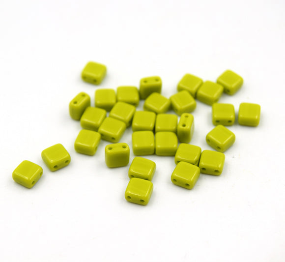 Czech Glass Tile Bead | Two Hole Tile Bead  | 5mm Square Shaped Green Opaque | 30 Beads per strand