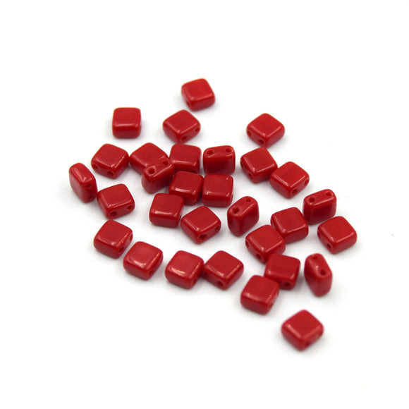 Czech Glass Tile Bead |Two Hole Tile Bead  | 5mm Square Shaped Red Opaque Double Drilled Glass Bead | 30 Beads per strand