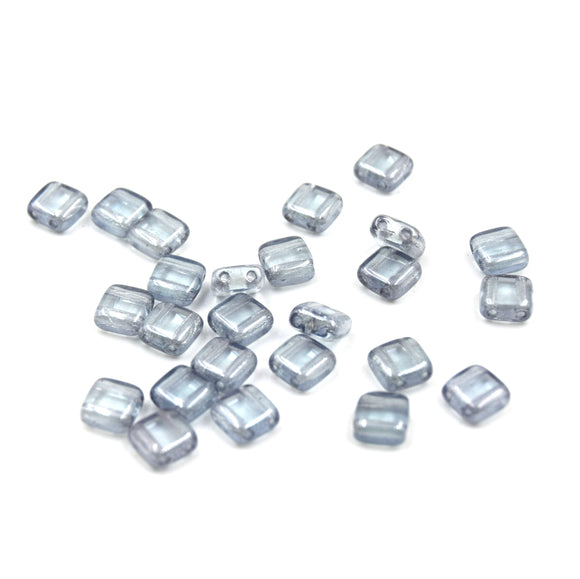 Czech Glass Tile Bead |Two Hole Tile Bead  | 6mm Square Shaped Luster Transparent Blue Double Drilled Glass Bead | 25 Beads per strand