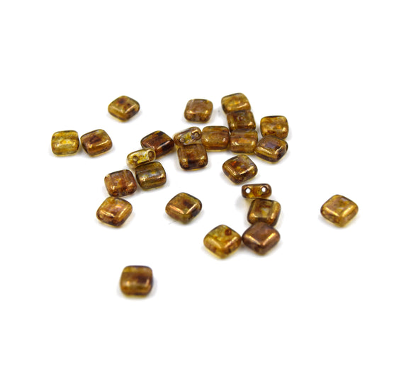 Czech Glass Tile Bead |Two Hole Tile Bead  | 5mm Square Shaped Luster Transparent Gold Double Drilled Glass Bead | 25 Beads per strand