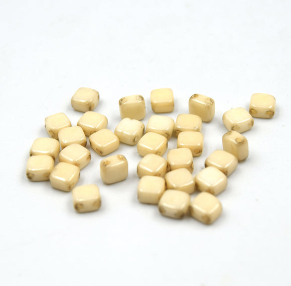 Czech Glass Tile Bead |Two Hole Tile Bead | 5mm Square Shaped Chalk Beige Luster Double Drilled Glass Bead | 30 Beads per strand