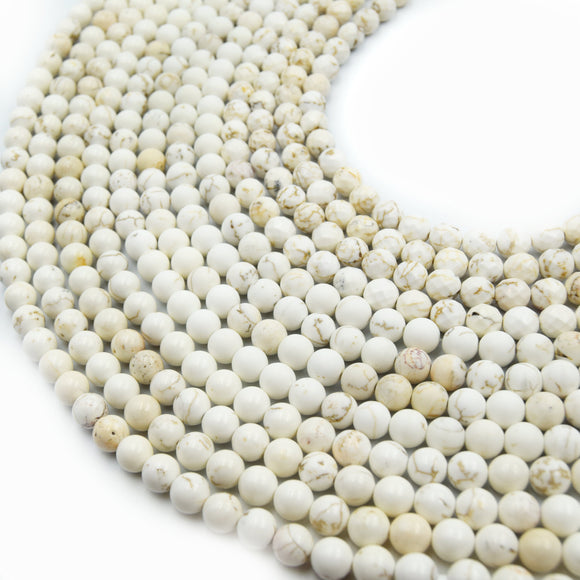 White Buffalo Turquoise Beads | Natural Gemstone Beads | Smooth Matte Faceted | 4mm 6mm 8mm 10mm 12mm Available