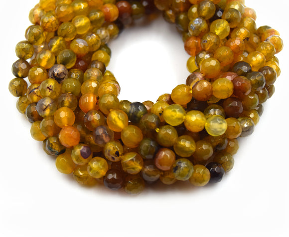 Dyed Agate Beads | 6MM Dyed Mixed Yellow Olive Brown Faceted Round Gemstone Beads