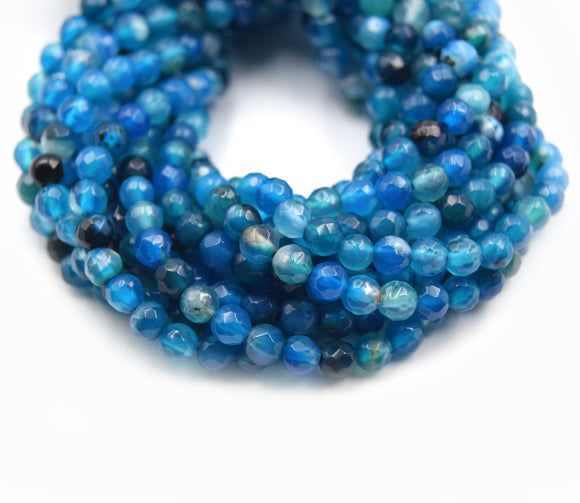 Dyed Agate Beads | 4MM Dyed Mixed Blue Transparent Faceted Round Gemstone Beads