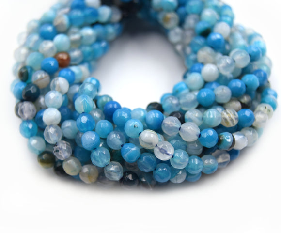 Dyed Agate Beads | 4MM Dyed Mixed Light Blue Transparent Faceted Round Gemstone Beads