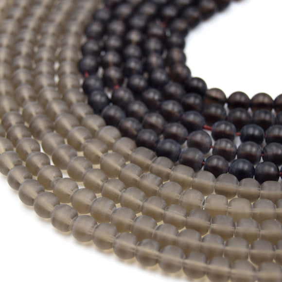 Smoky Quartz Beads | Round MATTE Natural Smoky Quartz Gemstone Beads | 4mm 6mm 8mm 10mm | Sold by 15
