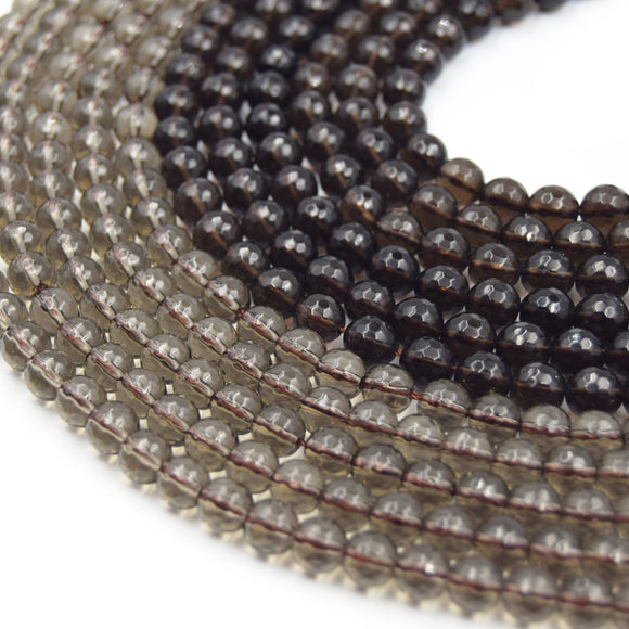 Smoky Quartz Beads | Faceted Natural Smoky Quartz Gemstone Beads | 4mm 6mm 8mm 10mm | Sold by 15