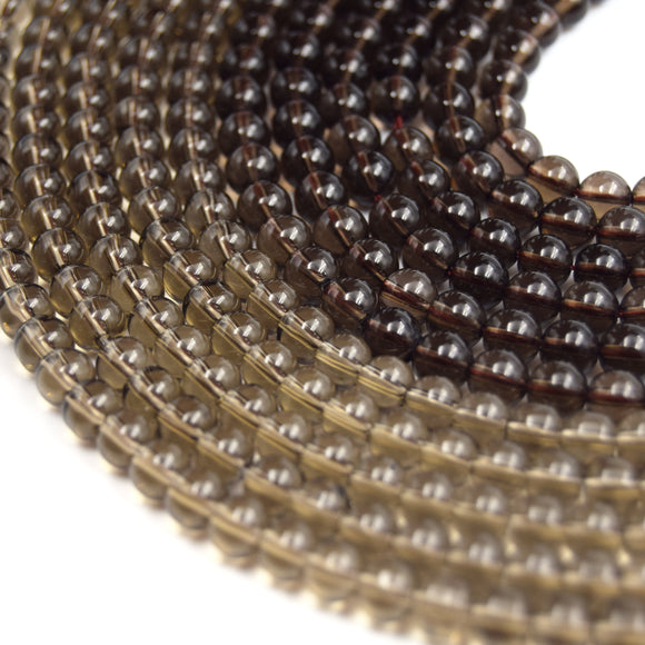 Smoky Quartz Beads | Round Smooth Natural Smoky Quartz Gemstone Beads | 4mm 6mm 8mm 10mm | Sold by 15