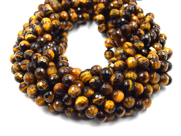 Faceted Tiger Eye Beads | Blue Red Brown Golden Multi Tiger Eye Beads- 15