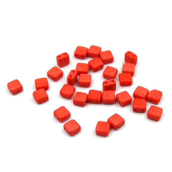 Czech Glass Tile Bead |Two Hole Tile Bead  | 5mm Square Shaped Matte Coral Double Drilled Glass Bead | 30 Beads per strand
