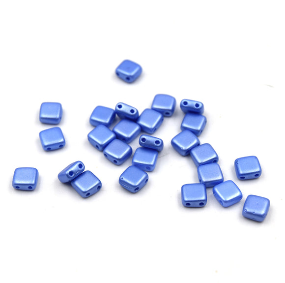 Czech Glass Tile Bead |Two Hole Tile Bead  | 6mm Square Shaped Sapphire Blue Double Drilled Glass Bead | 30 Beads per strand