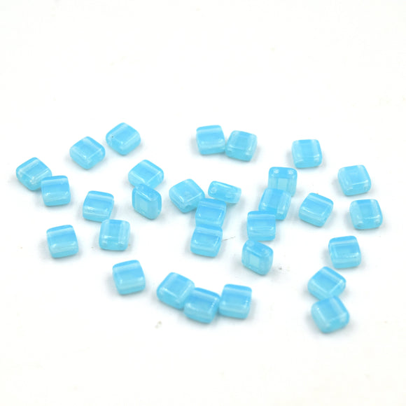 Czech Glass Tile Bead |Two Hole Tile Bead  | 5mm Square Shaped Aqua Opal Double Drilled Glass Bead | 30 Beads per strand