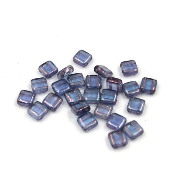 Czech Glass Tile Bead |Two Hole Tile Bead  | 6mm Square Shaped Luster Transparent Amethyst Double Drilled Glass Bead | 25 Beads per strand