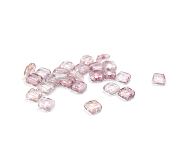 Czech Glass Tile Bead |Two Hole Tile Bead  | 6mm Square Shaped Luster Transparent Topaz Pink Double Drilled Glass Bead | 25 Beads per strand