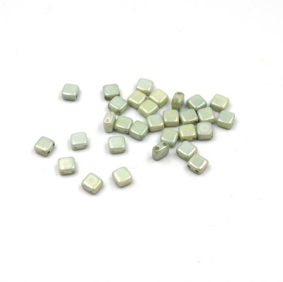 Czech Glass Tile Bead |Two Hole Tile Bead | 5mm Square Shaped Chalk Green Luster Double Drilled Glass Bead | 30 Beads per strand