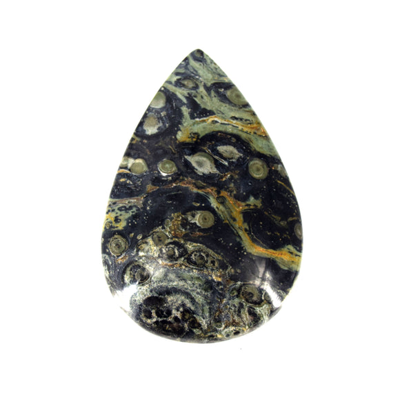 Kambaba Jasper Cabochon | Teardrop Flat Back Cabochon | 42mm x 64mm - 6.5mm Dome Height | OOAK Natural Gemstone Cabochon