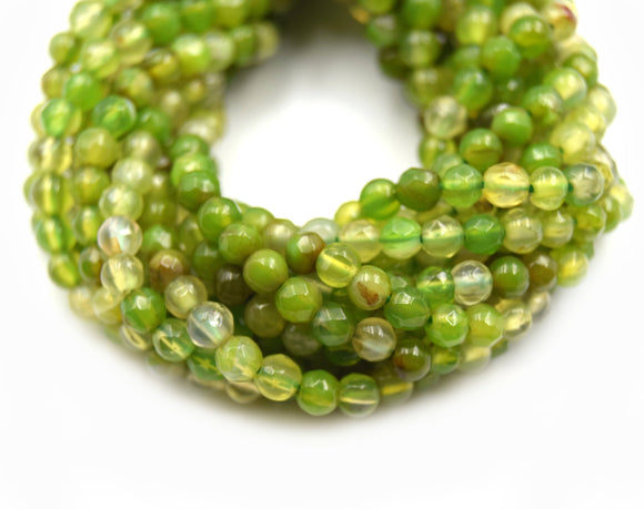 Dyed Agate Beads | 4MM Dyed Mixed Light Green Transparent Faceted Round Gemstone Beads
