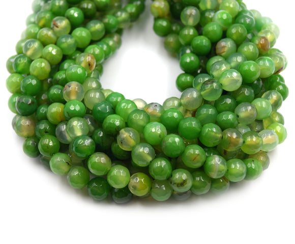 Dyed Agate Beads | Dyed Mixed Green Faceted Round Gemstone Beads | 6mm 8mm 10mm Available