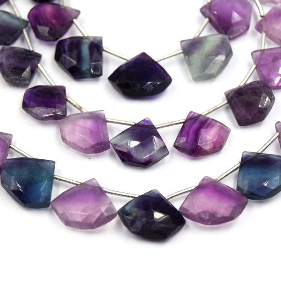 Fluorite Beads | 16mm x 14mm Shield Shaped High Quality Semi Precious Indian Gemstone Beads | Sold By the Strand
