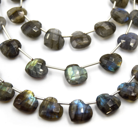 Labradorite Beads | Hand Cut Indian Gemstone | 12mm Heart Shaped Beads | AAA Labradorite | Loose Gemstone Beads | Two drill styles available