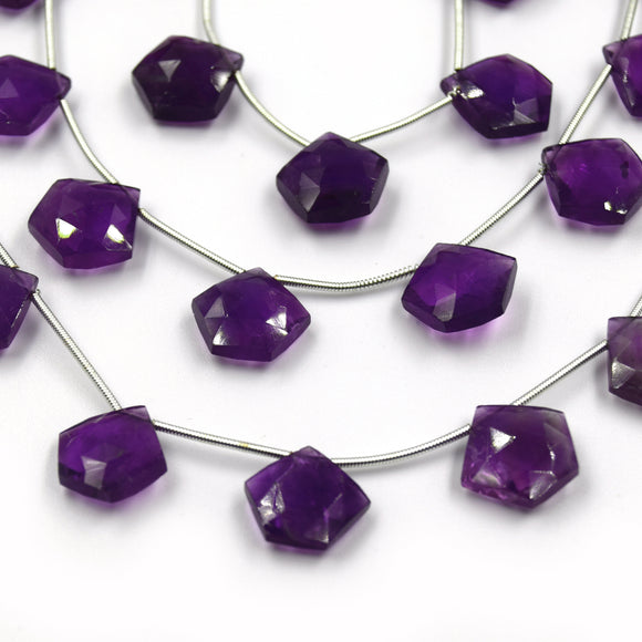 Amethyst Beads | Hand Cut Indian Gemstone | 15mm Pentagon Shaped Beads | High Quality Amethyst | Loose Gemstone Beads